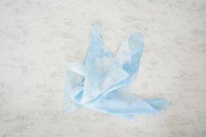Pañuelo de bolsillo azul celeste-blanco Seda