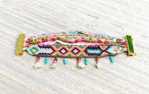 Hipanema Armband, bunt & gold
