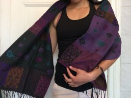 Pashmina púrpura-negro