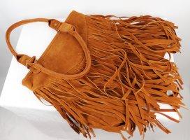 Hippie Boho Kunstleder Tasche Bag Shopper Fransen Cognac Braun Hellbraun Handtasche Wildlederimitat Western