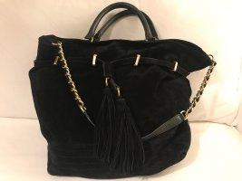 Zara Woman Hobo czarny-złoto Skóra
