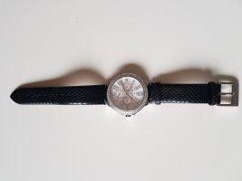Zegarek ze skórzanym paskiem czarny-srebrny