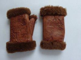 Hochwertige fingerlose echt Leder Handschuhe Lammfell Muster gelasert