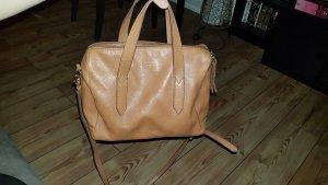 Hochwertige Fossil Bowling Bag Tasche hellbraun braun gold