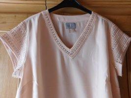hochwertige neue Bluse mit dekorativer Steinchen- und Zierperlenschmuck, Farbe rose,