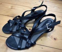 hochwertige schwarze Sandaletten Marc O'Polo Sandalen 37 Riemchen Absatz TOP!
