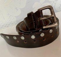 Hochwertiger Ledergürtel mit Nieten braun Silber