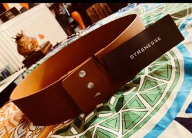Strenesse Leather Belt brown-bronze-colored leather