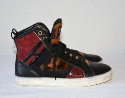 HOGAN REBEL High-Top Sneaker Gr.36 Multicolor Damen Fell Leder Leo