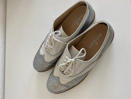 Hogan Zapatos estilo Oxford blanco-color plata