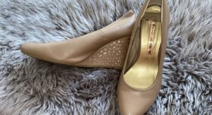 Studio London Zapatos de cuña beige-color oro