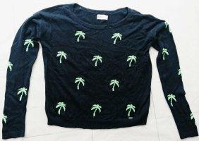Hollister Damen Woll Pullover, Gr. S, Vintage Style, Palmen, Extra Lange Ärmel
