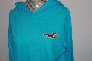 Hollister Koszulka z kapturem turkusowy Bawełna