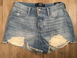 Hollister Hot Pants Jeans Short High Rise Denim Mom Short Größe 7 W28 destroyed Spitze