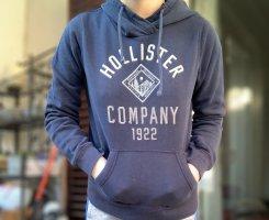 Hollister Jersey con capucha azul oscuro-blanco