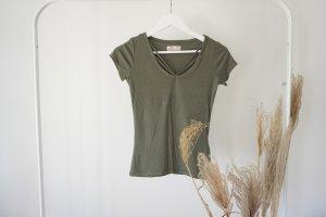 Hollister T-Shirt Oberteil khaki oliv gerippt neu V-Ausschnitt