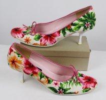 Hollyday Hawai Textil Pumps Graceland Größe 39 Blumen Blüten Schuhe Schleife Rockabilly Pink Weiß Grün Tiki