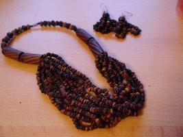 Colliers ras du cou multicolore bois