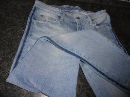 Cambio Jeans Spodnie rurki niebieski neonowy Tkanina z mieszanych włókien
