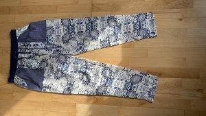 Mango Suit Pantalón de lino blanco-azul oscuro