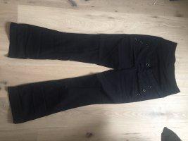Hose Stoffhose mit jeweils 3 Knöpfen an den Hosentaschen Umstandsmode schwarz Größe 40