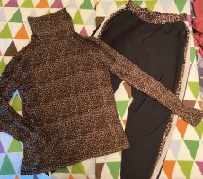 Zara Basic Pantalone bloomers nero-marrone