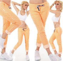 Hot ITALY Hose/Baggy - Orange/White - Gestreift - OneSize