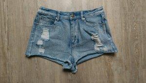 Hot Pant Jeans High Waist used Style blau 36/38