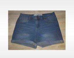 H&M Jeansowe szorty ciemnoniebieski-stalowy niebieski