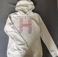 Sweter z kapturem jasnożółty-biały Bawełna