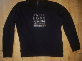 Hucke Berlin Sweatshirt Pullover Longsleeve Dark Blue Love Liebe mit Applikationen und Aufdruck S 36