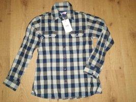 hübsche blau karierte Cross Langarm Bluse - Hemd - Druckknöpfe, Gr. 36 (S)