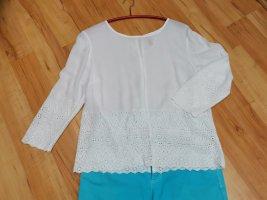 H&M Basic Koronkowa bluzka biały Bawełna