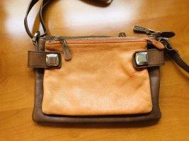 Hübsche Leder Umhängetasche Freteric Paris Braun Orange