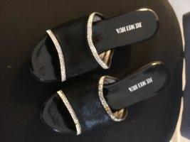 Sandalo con tacco nero Fibra tessile