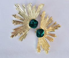 Statement Earrings gold-colored-forest green