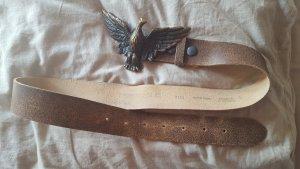 Hüftgold Cintura di pelle marrone chiaro-beige Pelle