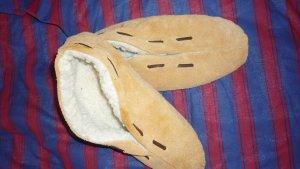 Pantoufles-chaussette blanc-brun sable
