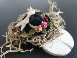 Hut Brosche Schwarz Rosen Blume Rosa Creme Schmuck