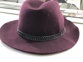 Cappello a falde larghe bordeaux-viola