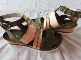 Sandales à lanière beige-vert olive cuir