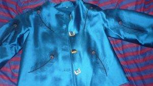 Veste chemisier bleu fluo-brun sable