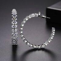 Pessina-Jewelry Créoles blanc-argenté