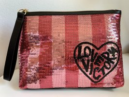 ictoria's Secret Kosmetiktasche Beauty Bag Clutch VS Streifen Pailletten Rosa Schwarz