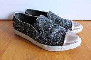 Ideal Shoes Slipper Halbschuhe Slipons schwarz silber weiß glitzer weiß spitz Gr. 38
