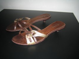 Mule à talon brun-doré cuir
