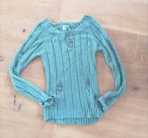 Coarse Knitted Sweater pale blue cotton