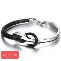 Infinity Armband aus Leder und Chirurgenstahl