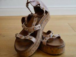 Inuovo Plateauzool sandalen licht beige-beige Gemengd weefsel