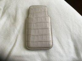 Custodia per cellulare crema-rosa antico Pelle